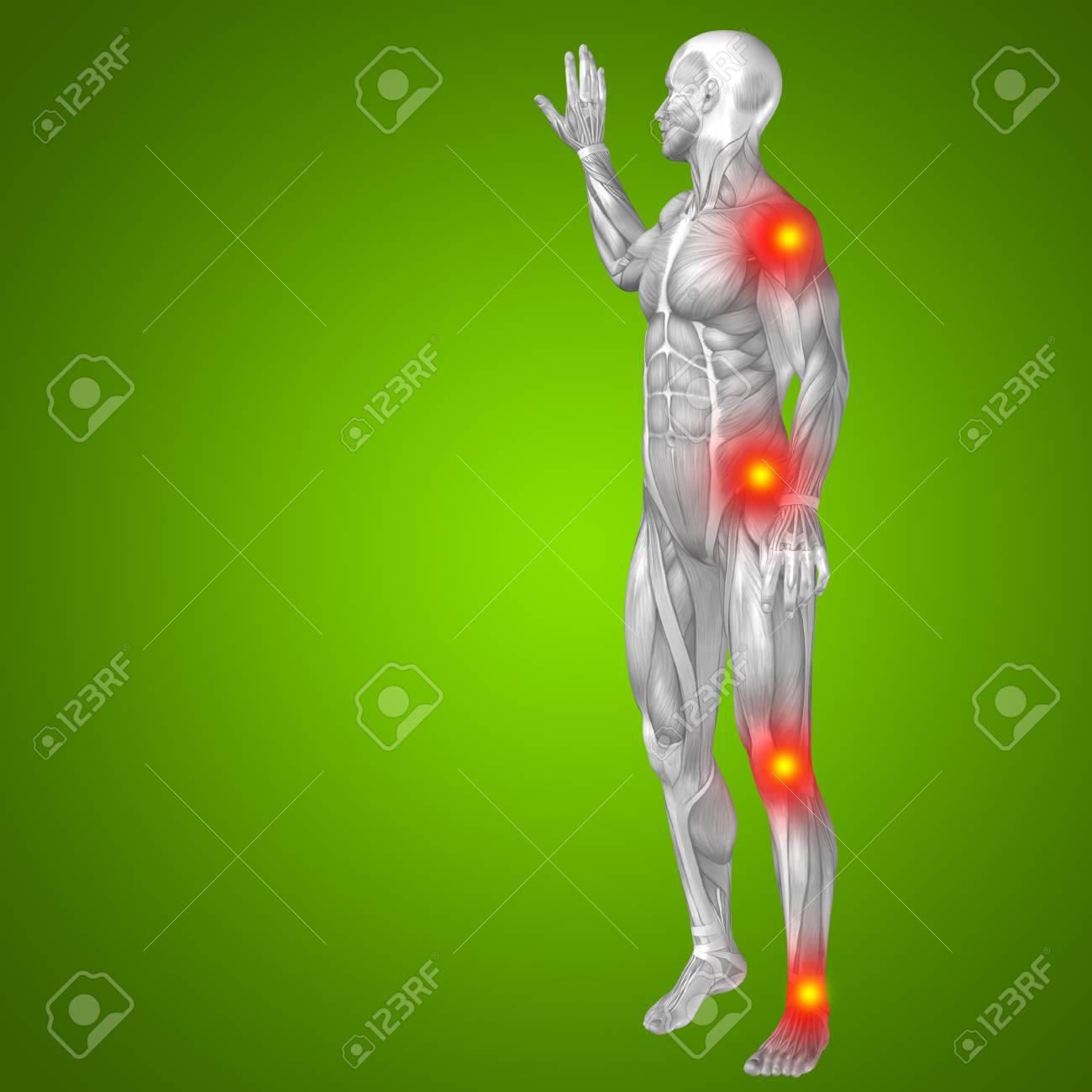 Konzeptionelle 3D Menschlichen Anatomie Mann Gelenkschmerzen Körper ...
