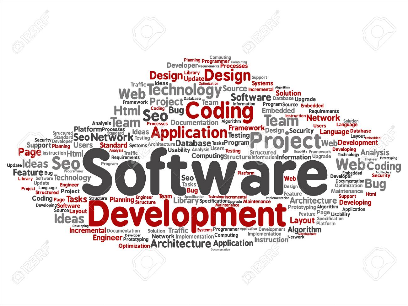 Software development related abstract lettering