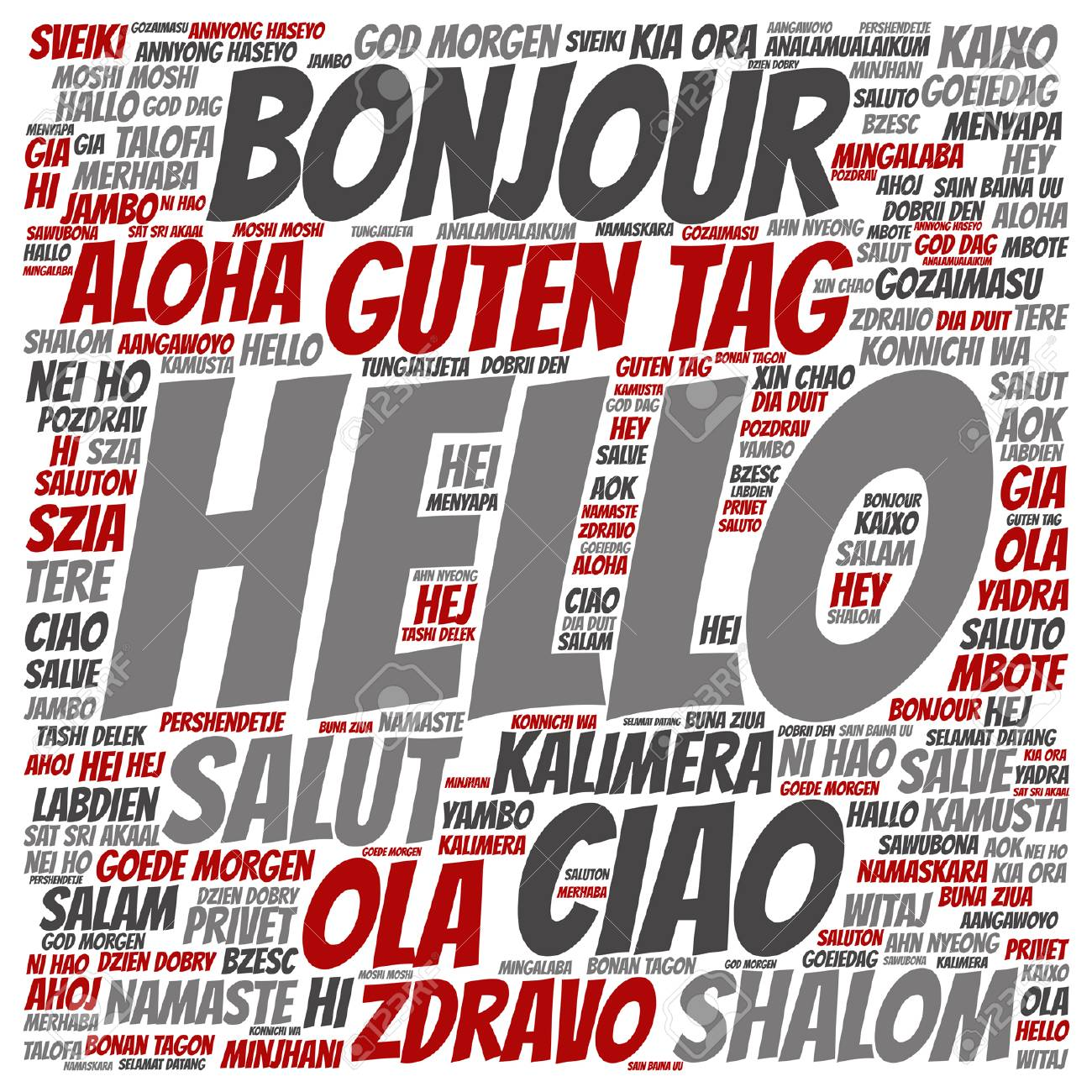 Vector Conceptual Abstract Hello Or Greeting International Word