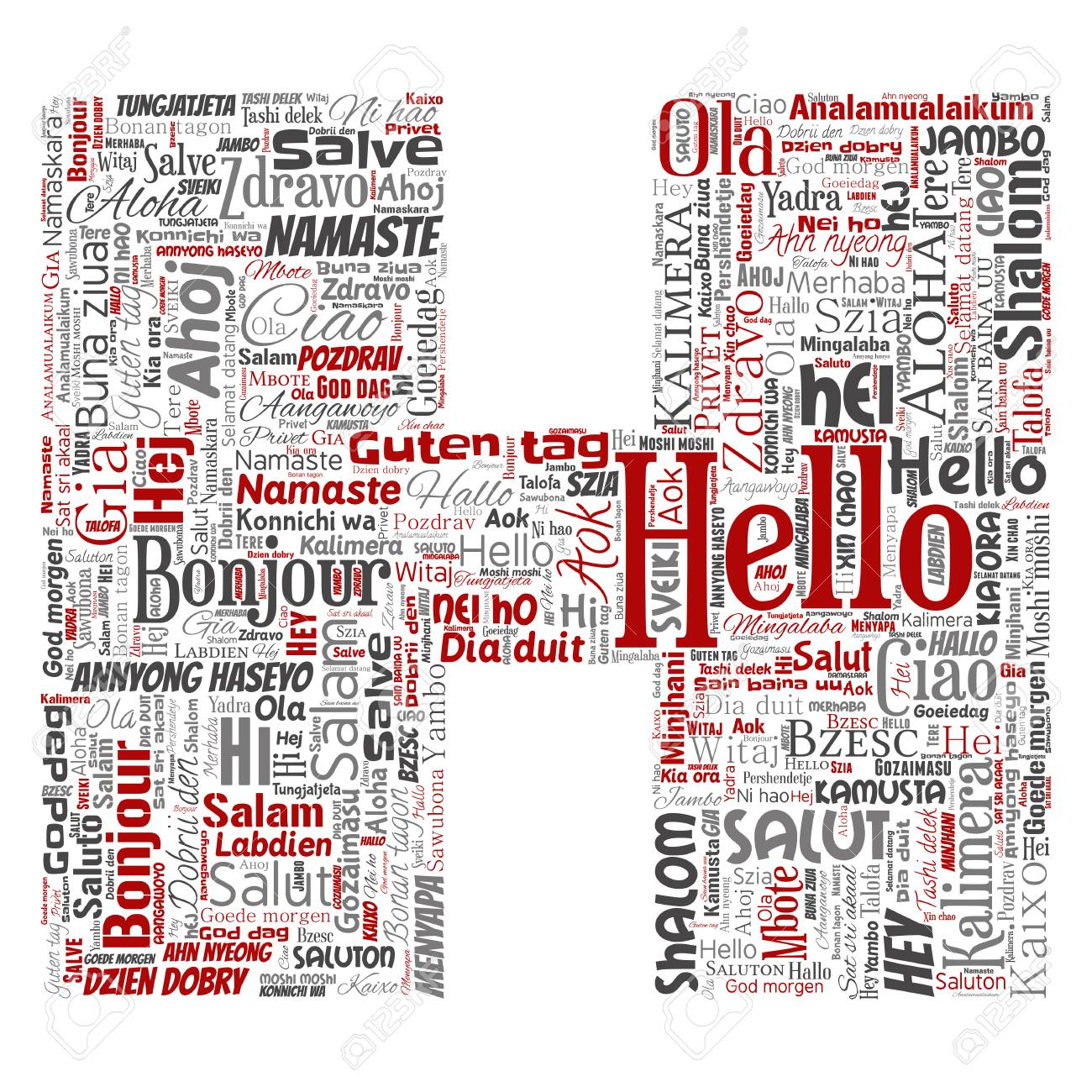 concept or conceptual letter font h hello or greeting international