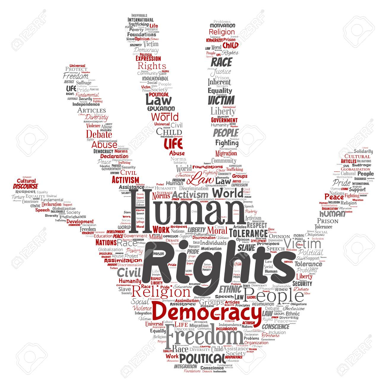 Vector conceptual human rights political freedom, democracy hand print stamp word cloud isolated background. Collage of humanity tolerance, law principles, people justice or discrimination concept - 96780326