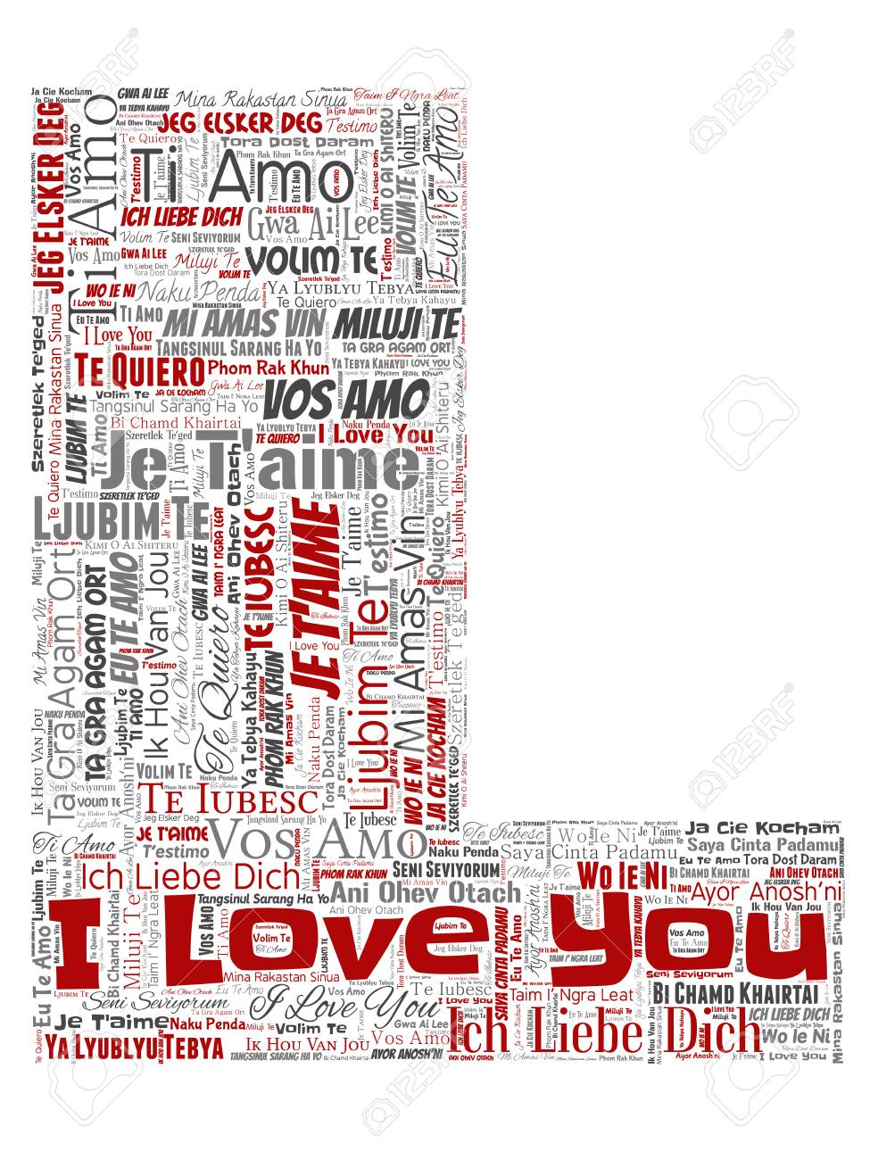 Vector Vector Conceptual Sweet Romantic I Love You Multilingual Message Letter Font L Red Word Cloud Isolated Background Collage Of Valentine Day