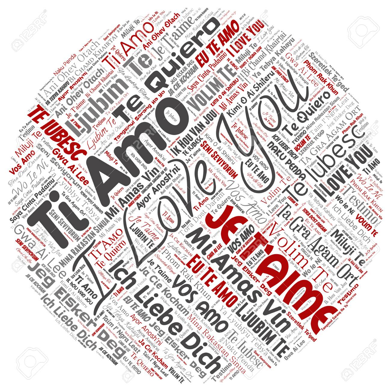 Vector Vector Conceptual Sweet Romantic I Love You Multilingual Message Round Circle Red Word Cloud Isolated Background Collage Of Valentine Day
