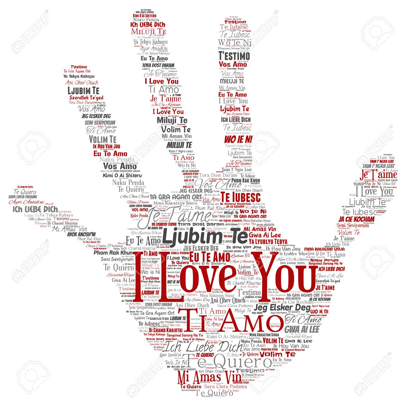 Vector Vector Conceptual Sweet Romantic I Love You Multilingual Message Hand Print Stamp Word Cloud Isolated Background Collage Of Valentine Day