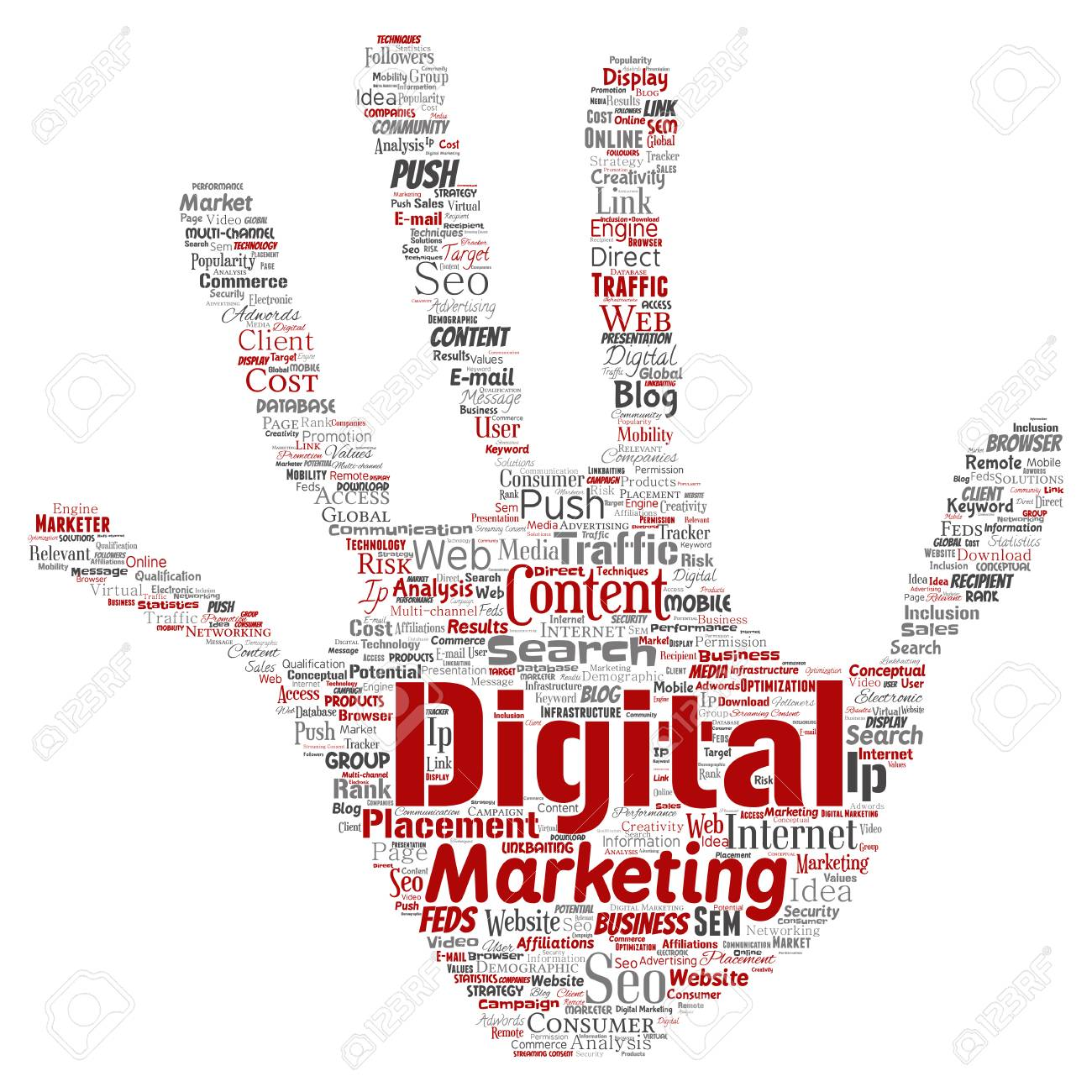 Concept Or Conceptual Digital Marketing Seo Traffic Hand Print Stamp Word Cloud Isolated Background Collage Of Business Market Content Search Web
