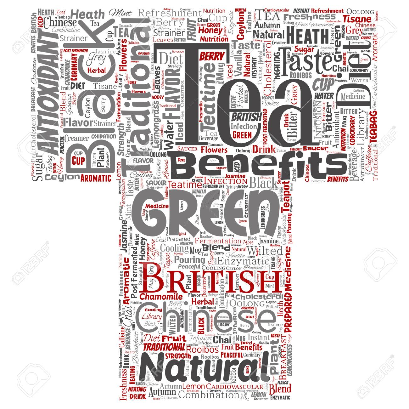 Vector conceptual green or black tea beverage culture letter font red natural flavor, taste variety word cloud isolated background. Collage of traditional medicine health or diet benefit concept - 126193434
