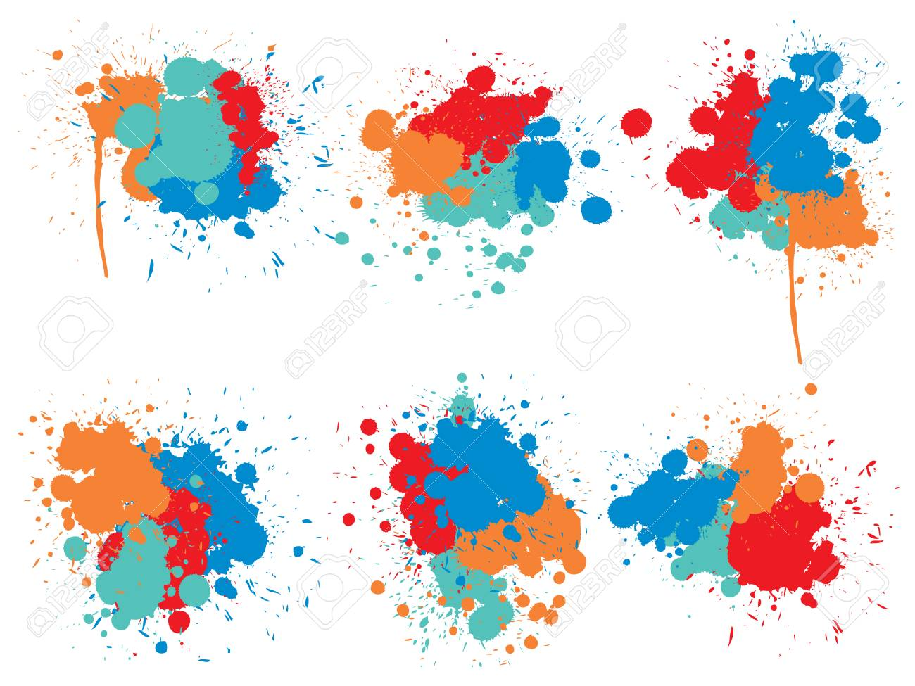 Vector collection of artistic grungy paint drop, hand made creative splash or splatter stroke set isolated white background. Abstract grunge dirty stains group, education or graphic art decoration - 121320838