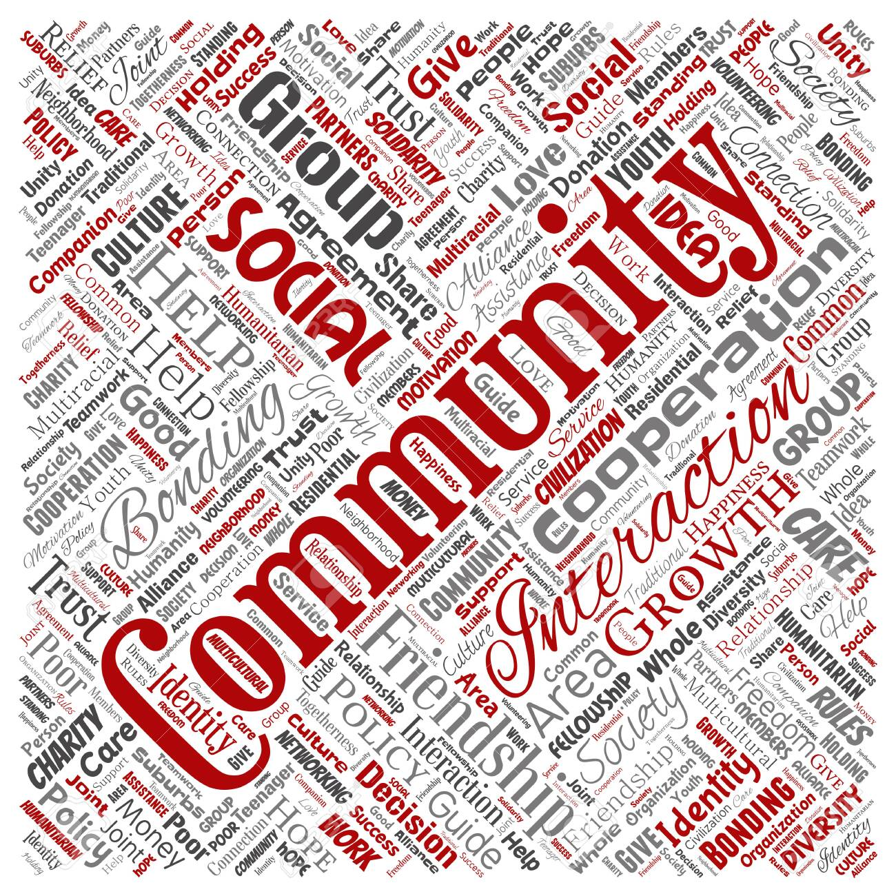Conceptual community, social, connection square red word cloud