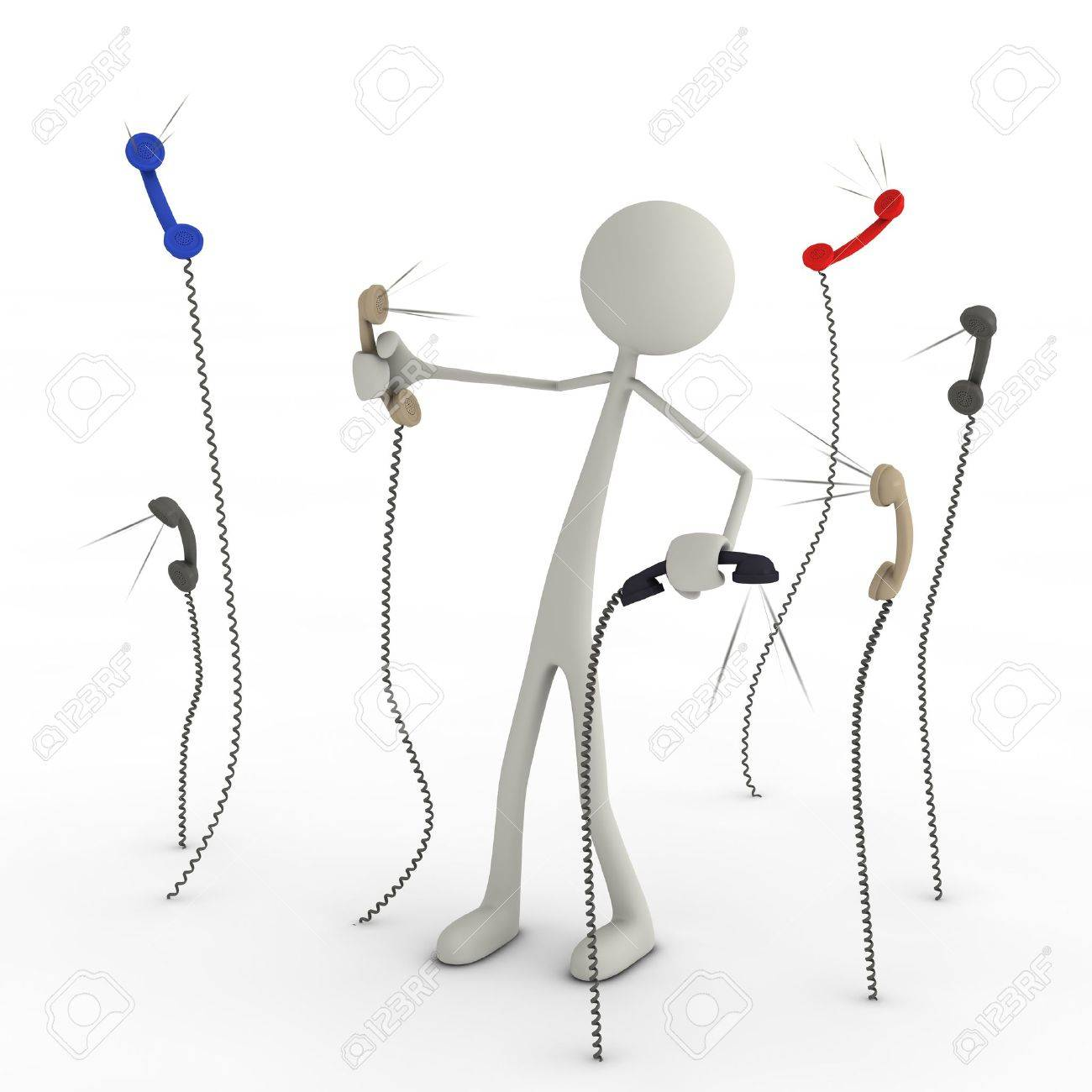 a figure has a fight with telephone earphones Stock Photo - 13143498