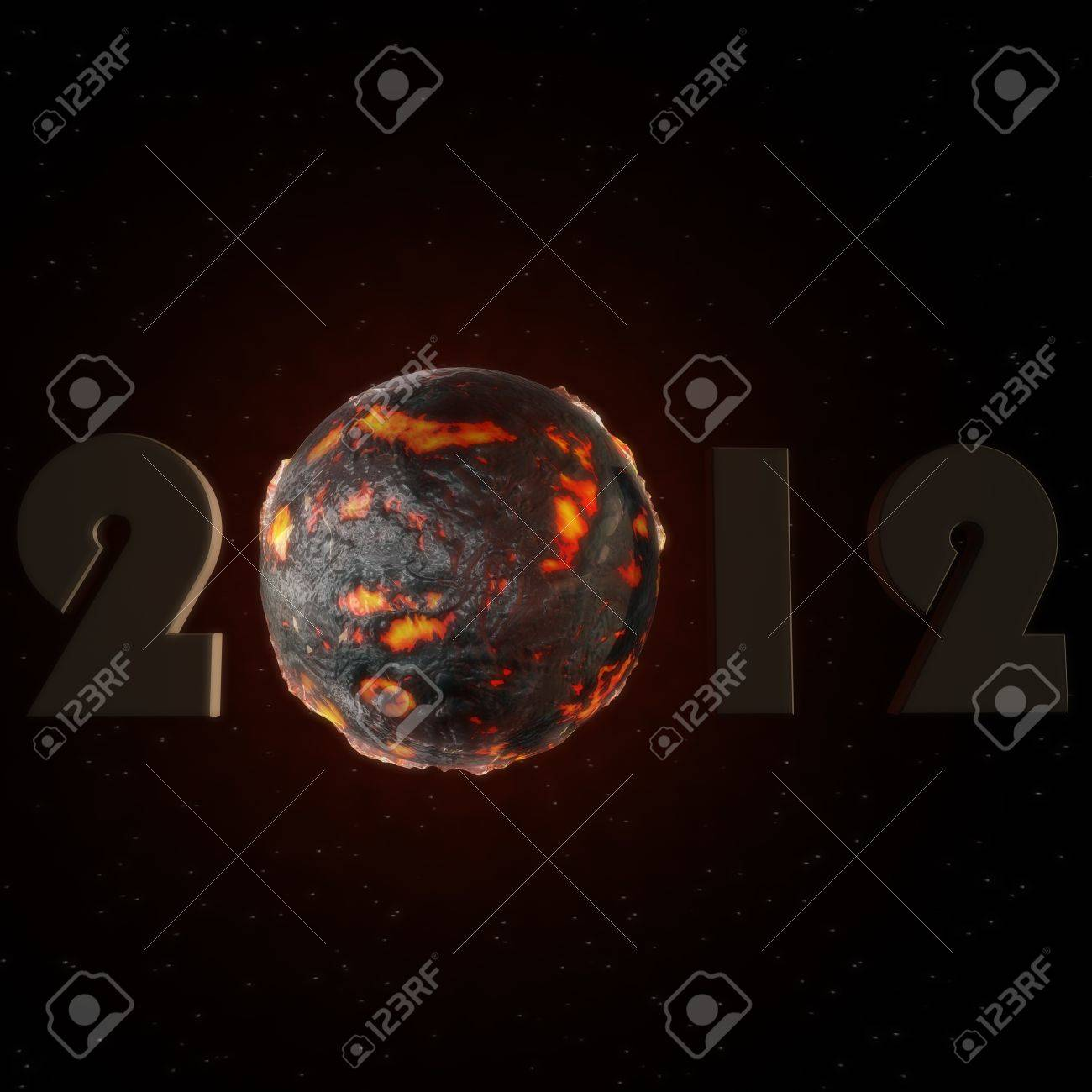 a lettering of 2012 with a lava ball Stock Photo - 13143275