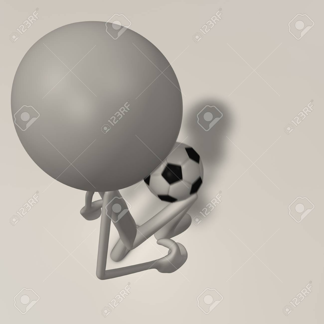 a figure is juggling a football with his feet - top view Stock Photo - 13147736