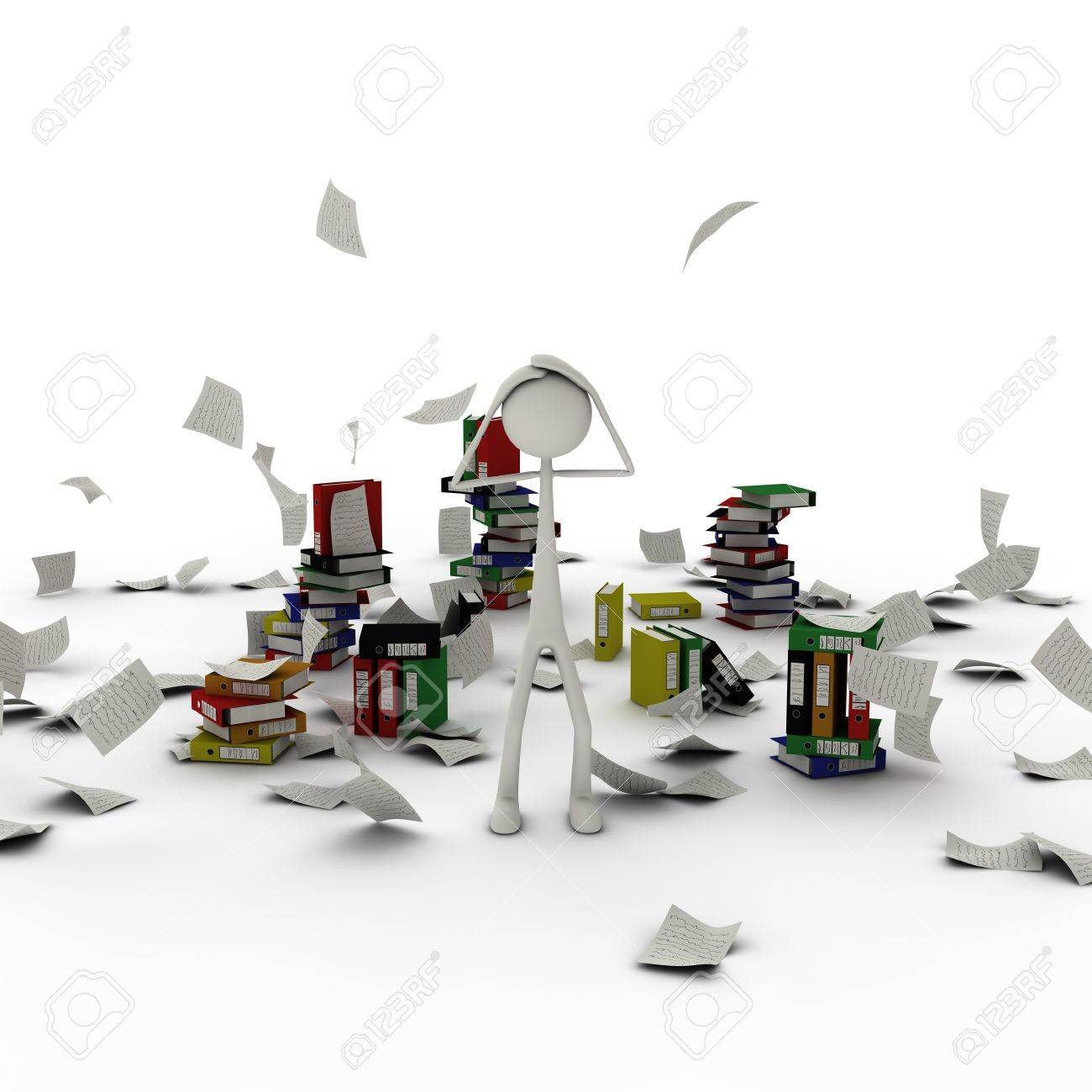 a figure in paper chaos take his hands at his head Stock Photo - 13143266