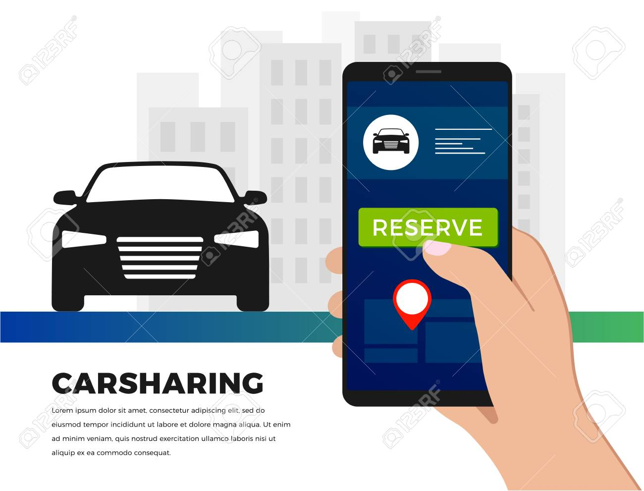 Car-sharing service illustration concept in flat design  Carsharing