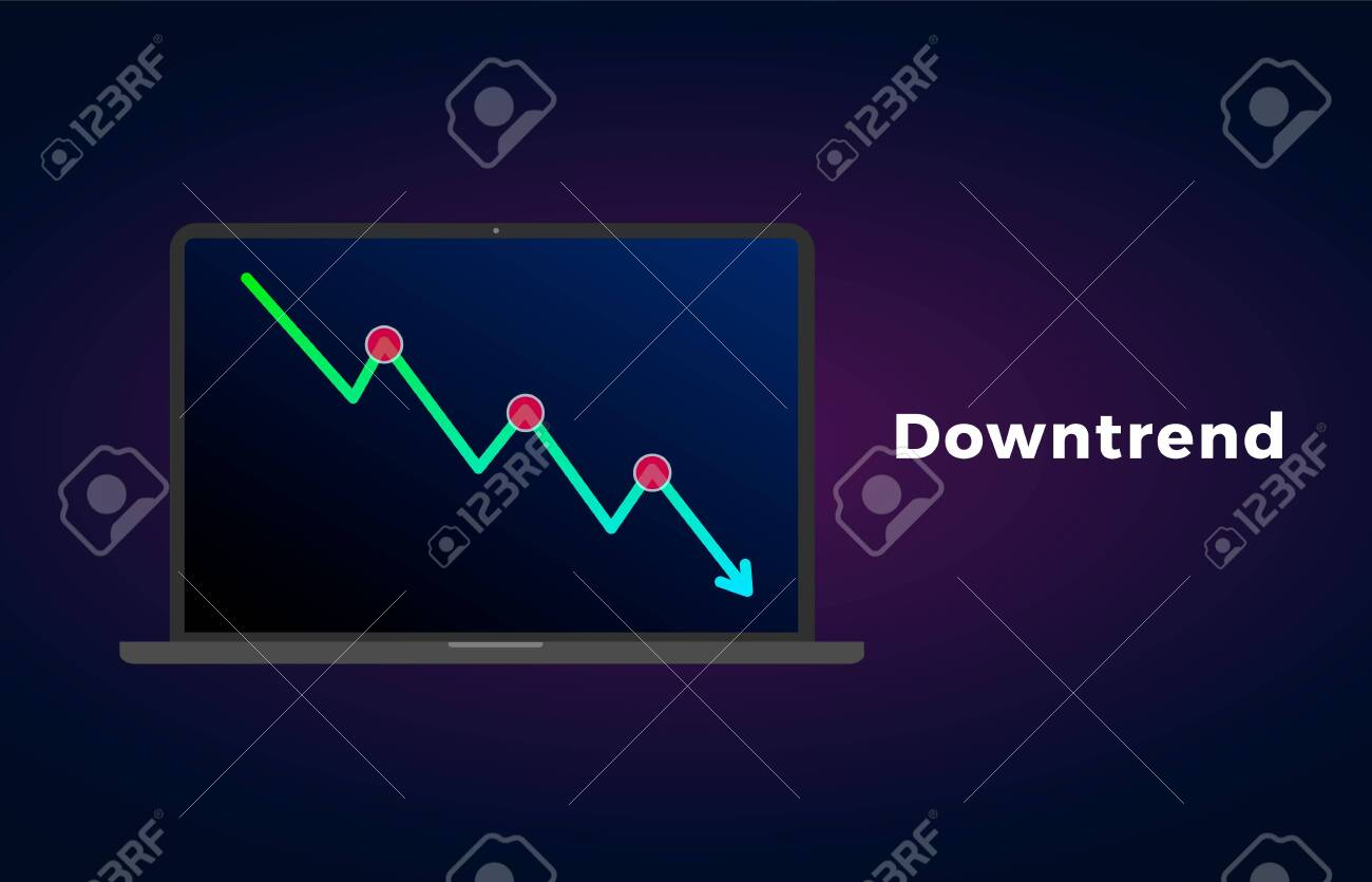 Downtrend Trend Definition Flat Icon With Laptop And Text Bearish Royalty Free Cliparts Vectors And Stock Illustration Image 139016463