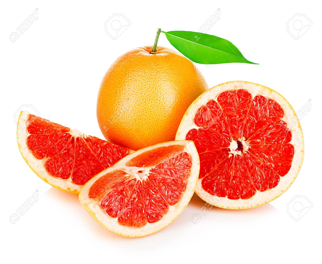 Grapefruits with leaf isolated on white background. - 126197365