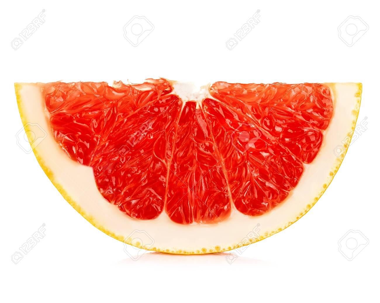 Grapefruit slice isolated on a white background. - 126197438