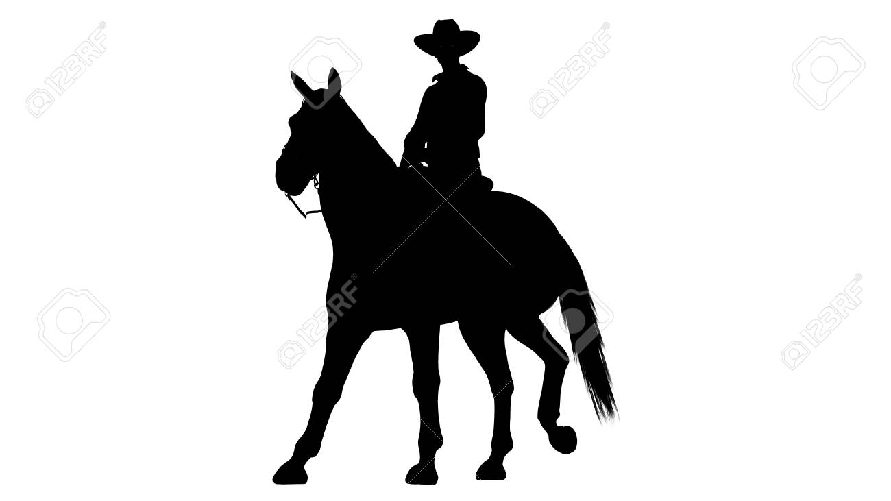 Cowboy On Horse Silhouette On White Background Stock Photo Picture And Royalty Free Image Image 47358245