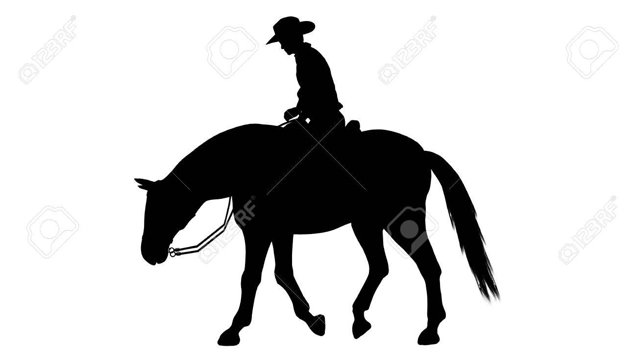Cowboy On Horse Silhouette On White Background Stock Photo Picture And Royalty Free Image Image 47358249
