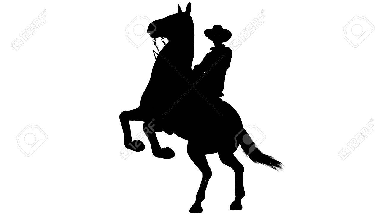 Cowboy On Horse Silhouette On White Background Stock Photo Picture And Royalty Free Image Image 47358161