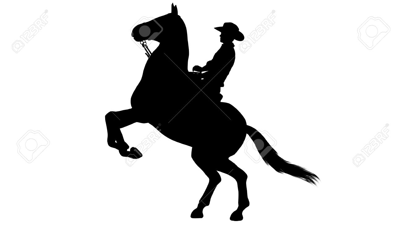 Cowboy On Horse Silhouette On White Background Stock Photo Picture And Royalty Free Image Image 47358162