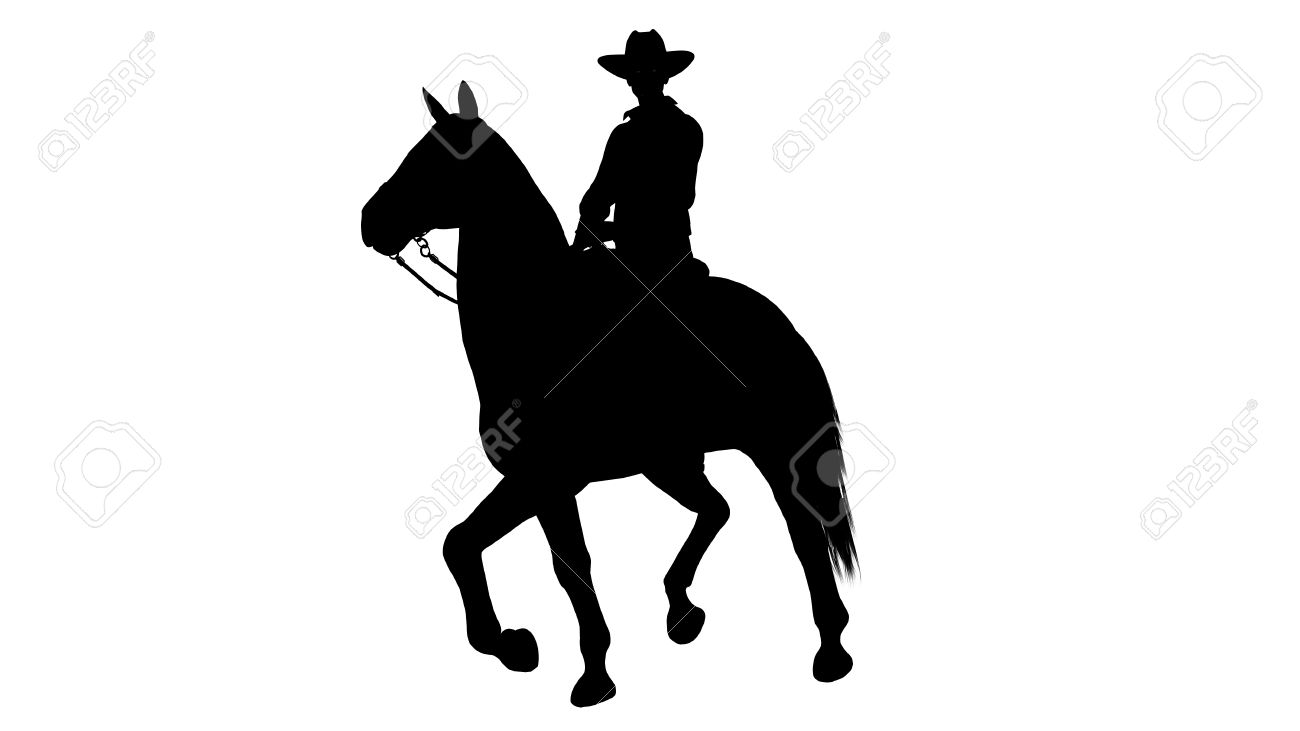 Cowboy On Horse Silhouette On White Background Stock Photo Picture And Royalty Free Image Image 47358140