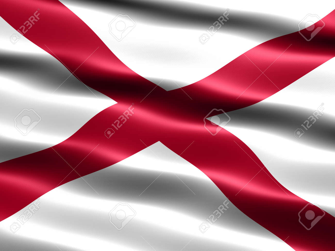Computer generated illustration of the flag of the state of Alabama with silky appearance and waves Stock Photo - 1079911