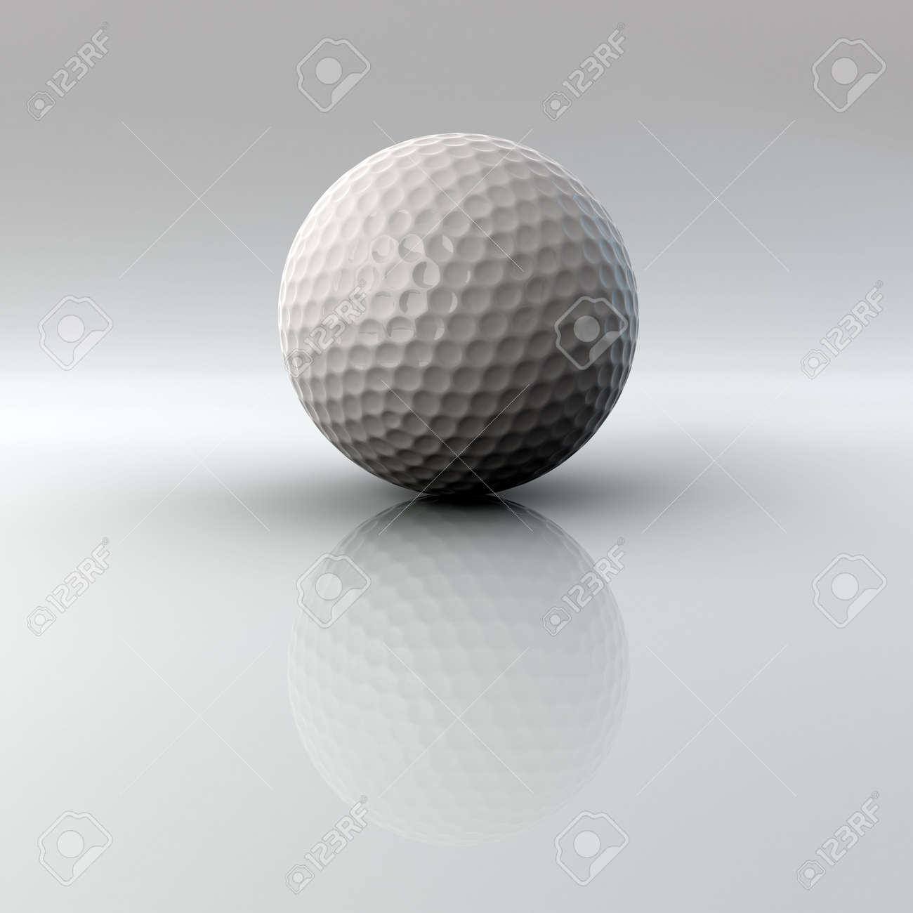 golf ball closeup on bright surface with reflection very high