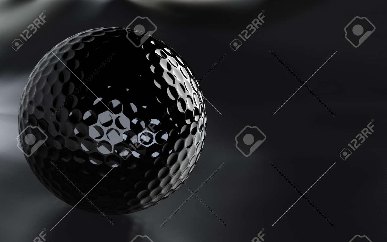 Detaillierte 3d rendern ein schwarz, hochglanz golf ball über eine ...