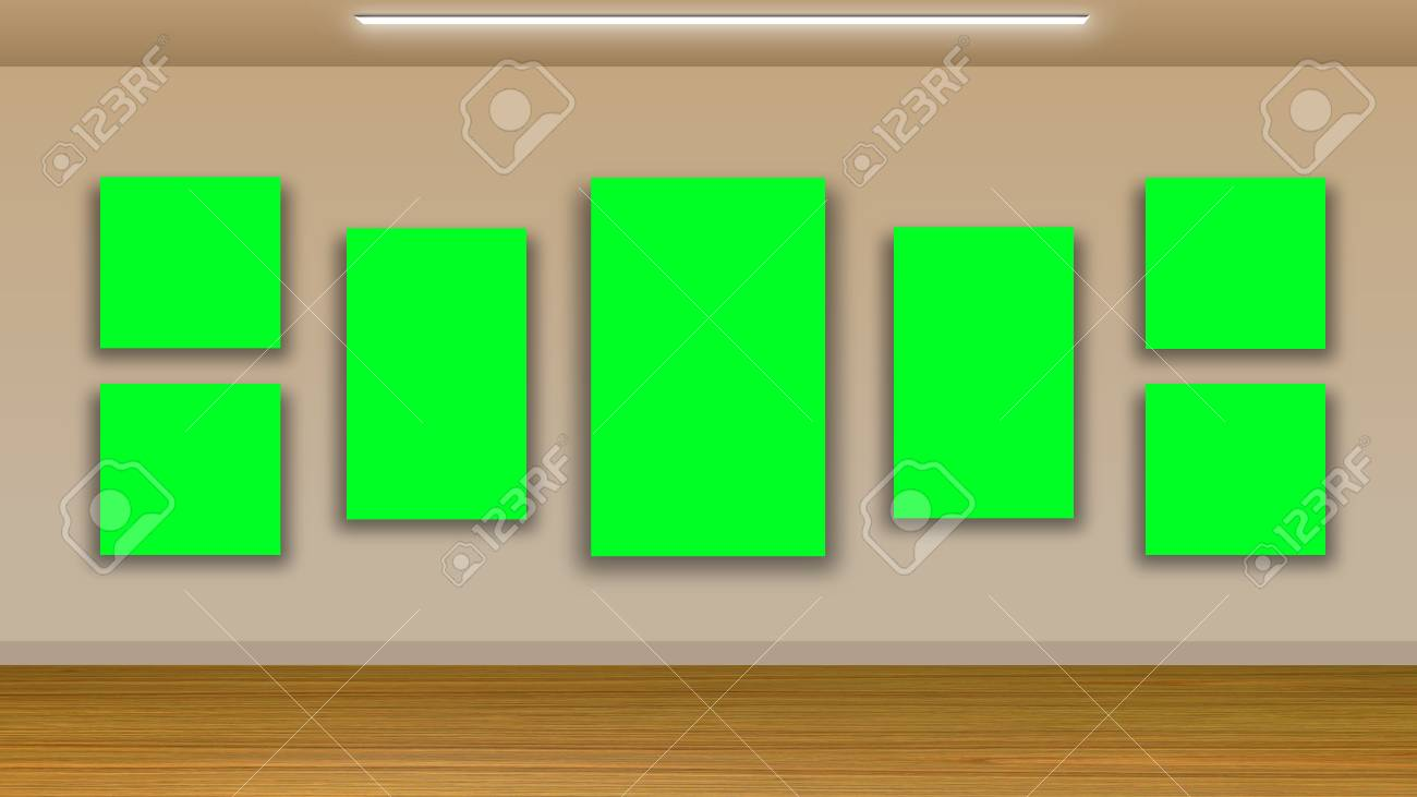 d34bd4d8299 blank frames on green wall and wooden floor - interior gallery Stock Photo  - 45582847