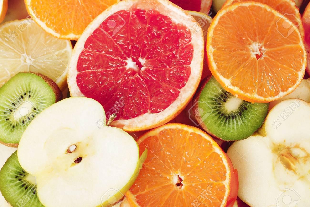 フルーツ模様 キウイ レモン オレンジ グレープ フルーツ アップル ナシ ザクロ果実の背景としては 壁紙 をカバーします 虹色のカラフルな新鮮な果物 美しいおいしい果物の壁紙 の写真素材 画像素材 Image