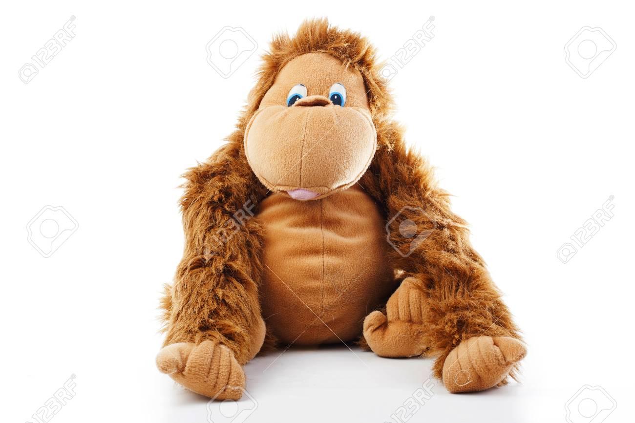 Monkey Plush Toy In Studio Brown Monkey Cute Monkey Fake Monkey