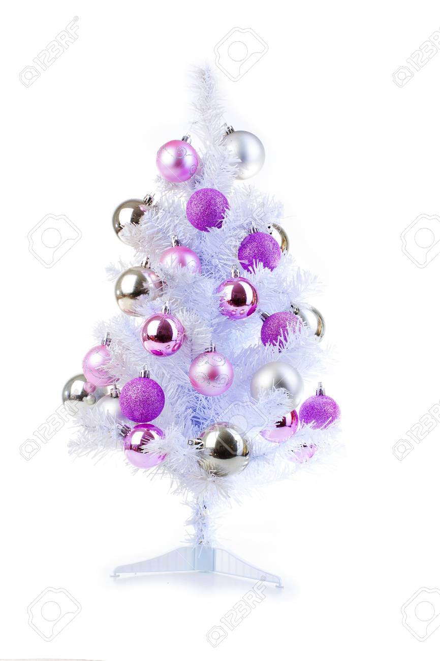 White Christmas Tree With Silver And Pink Baubles Ornaments Stock