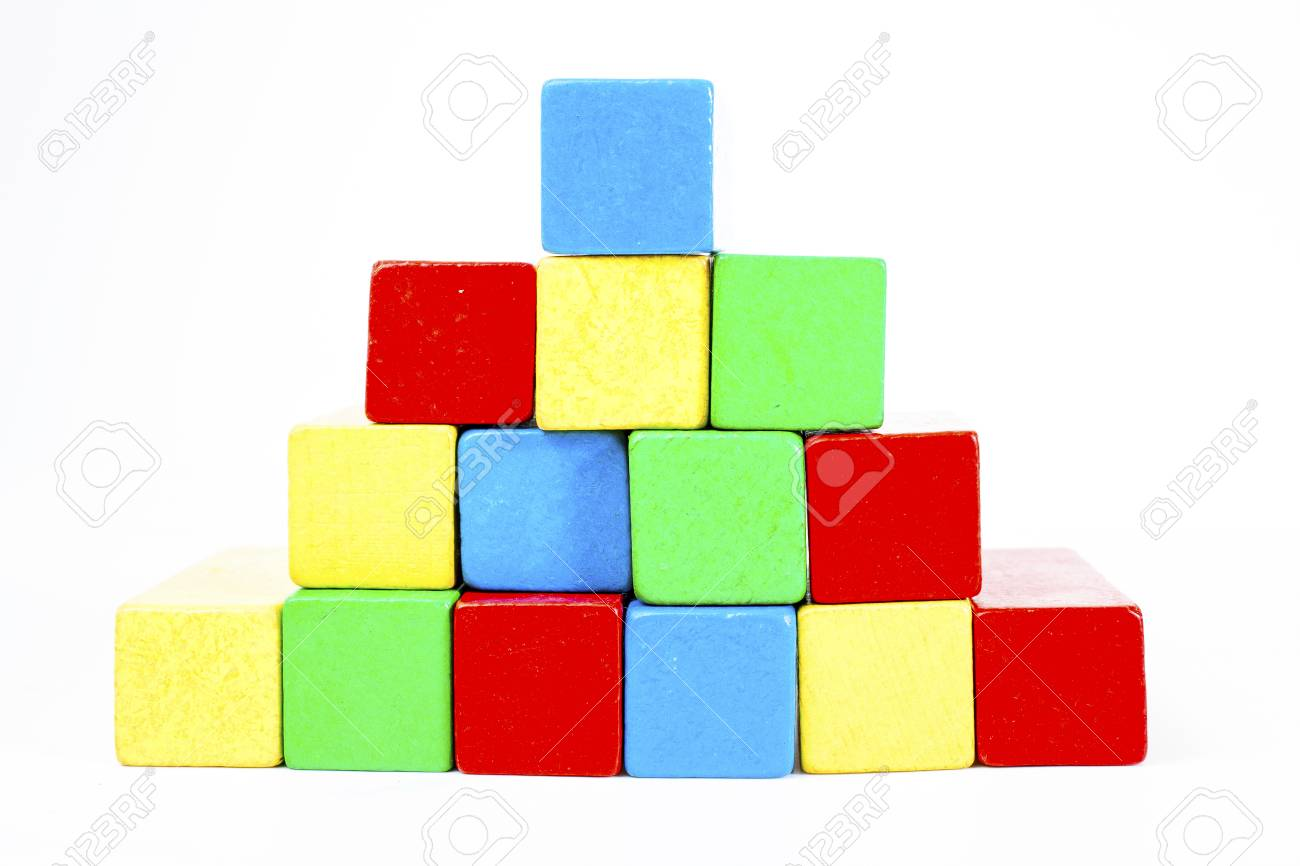 Stock Photo   Toy Blocks Infographic Chart Stair Bar, Kids Bricks On White  Background. Wooden Diagram In Studio.