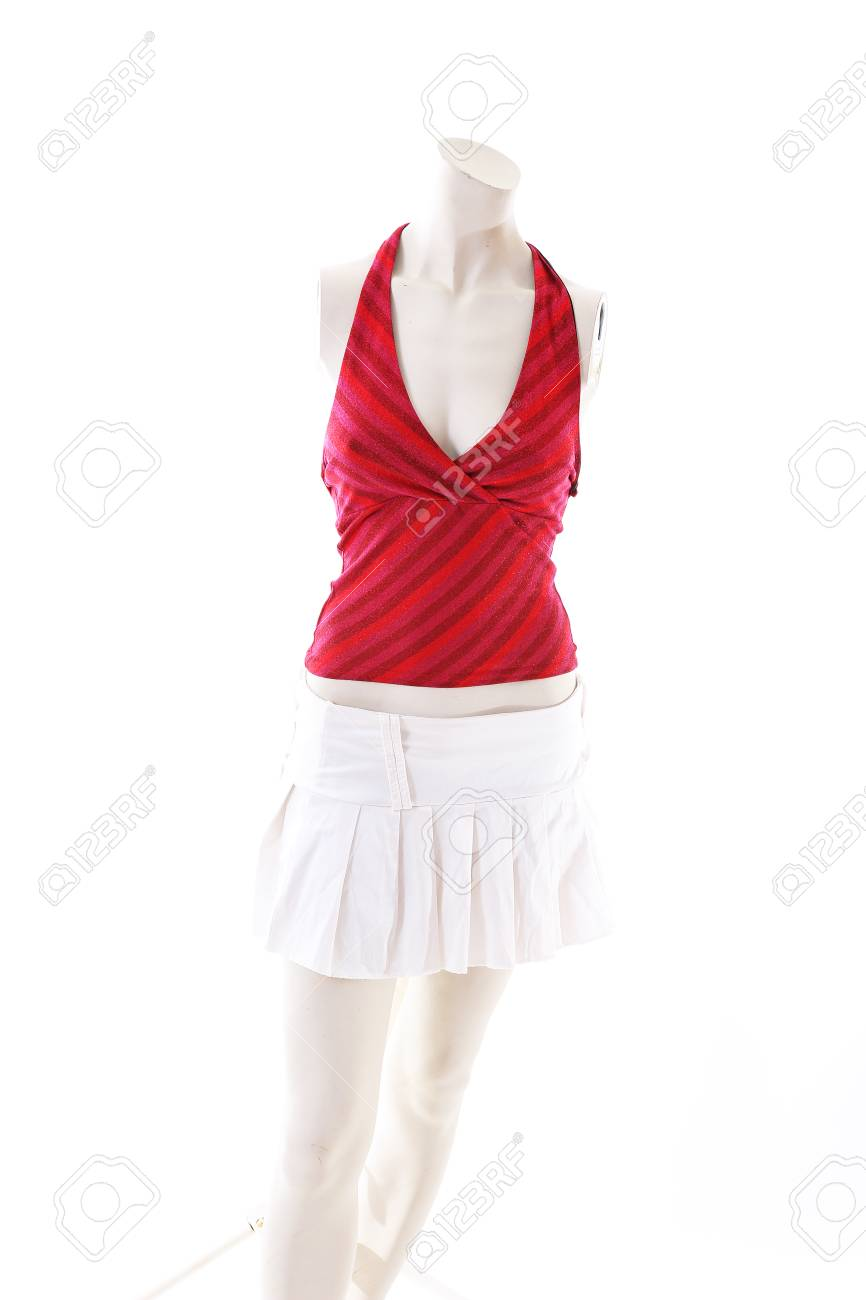 893bedabf7b Red top and white mini skirt on mannequin full body shop display. Woman  fashion styles