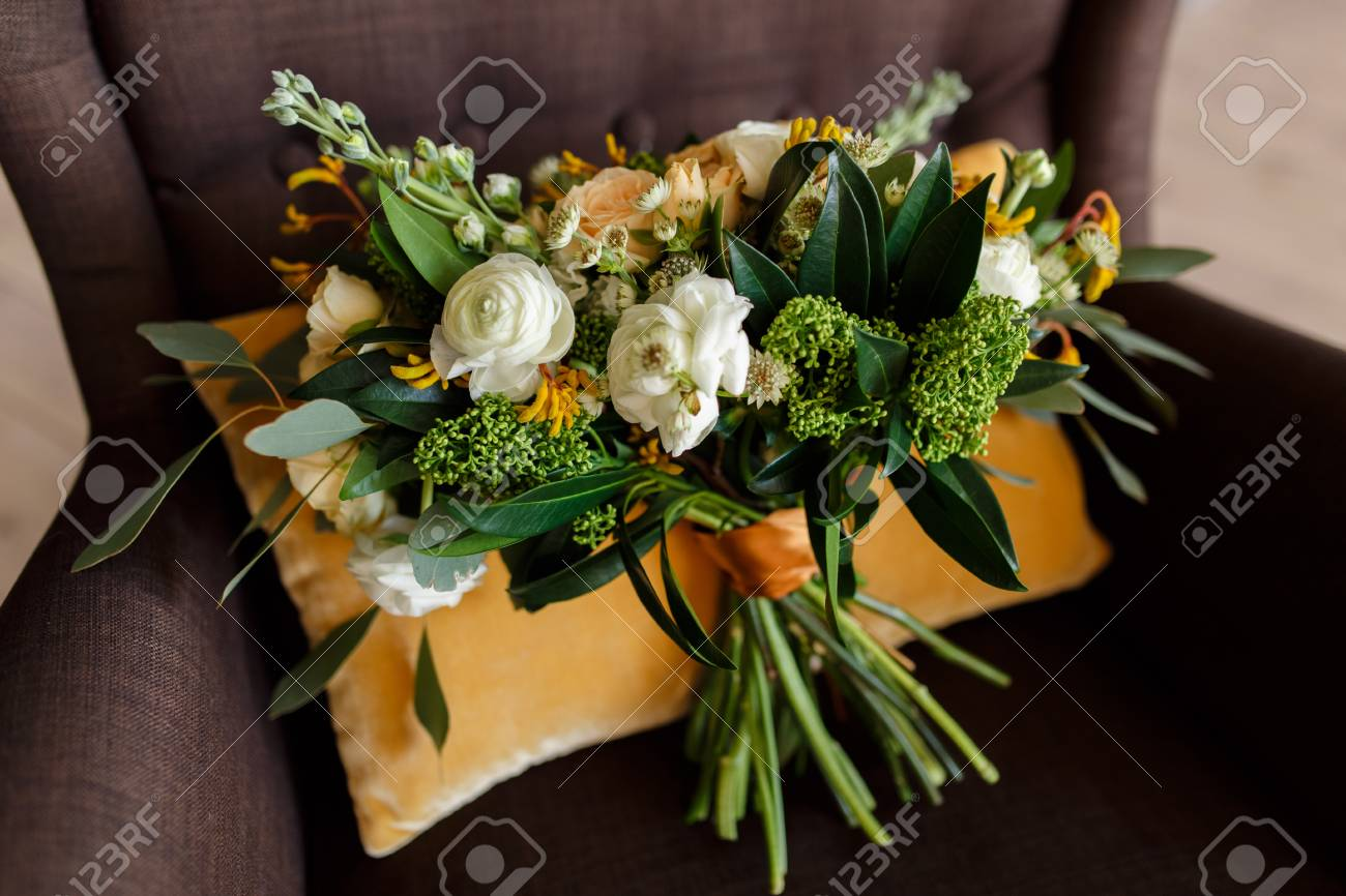 Beautiful Bridal Bouquet Of White Peonies Cream Roses And Greenery Stock Photo Picture And Royalty Free Image Image 65307902