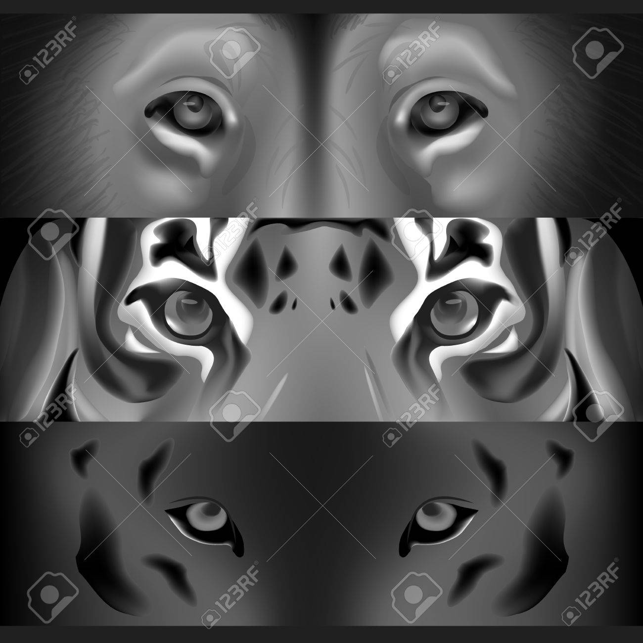The Face Of A Tiger And A Lion Greyscale Royalty Free Cliparts Vectors And Stock Illustration Image 57525659