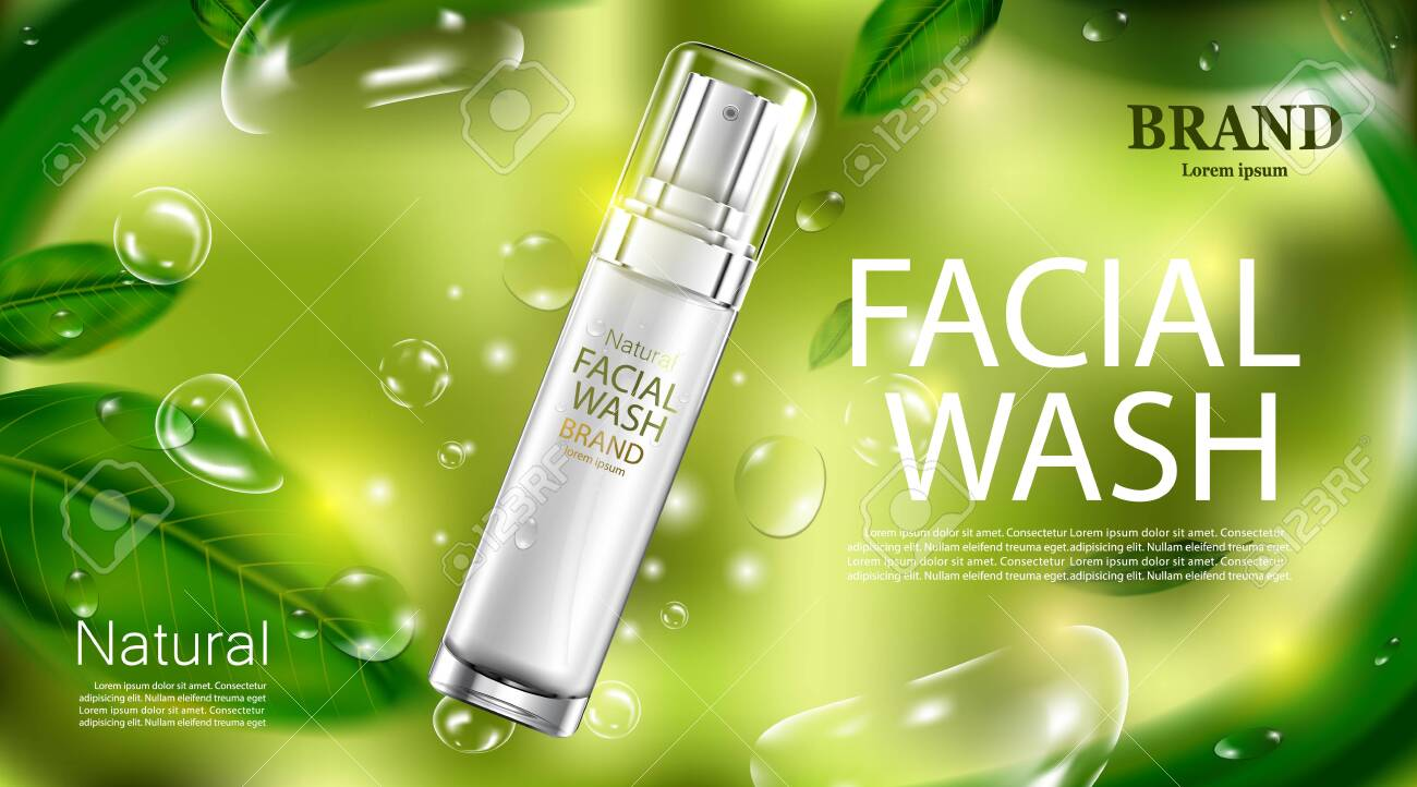 Luxury cosmetic Bottle package skin care cream, Beauty cosmetic product poster with leaves and green background - 124363958