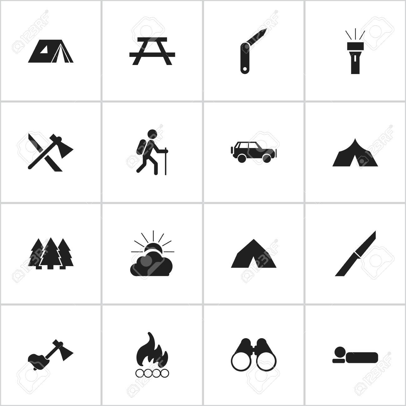 Set Of 16 Editable Travel Icons Includes Symbols Such As Refuge