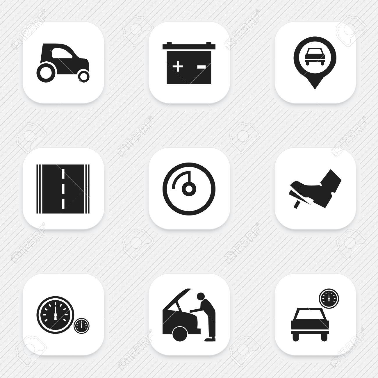 Set Of 9 Editable Traffic Icons Includes Symbols Such As Vehicle