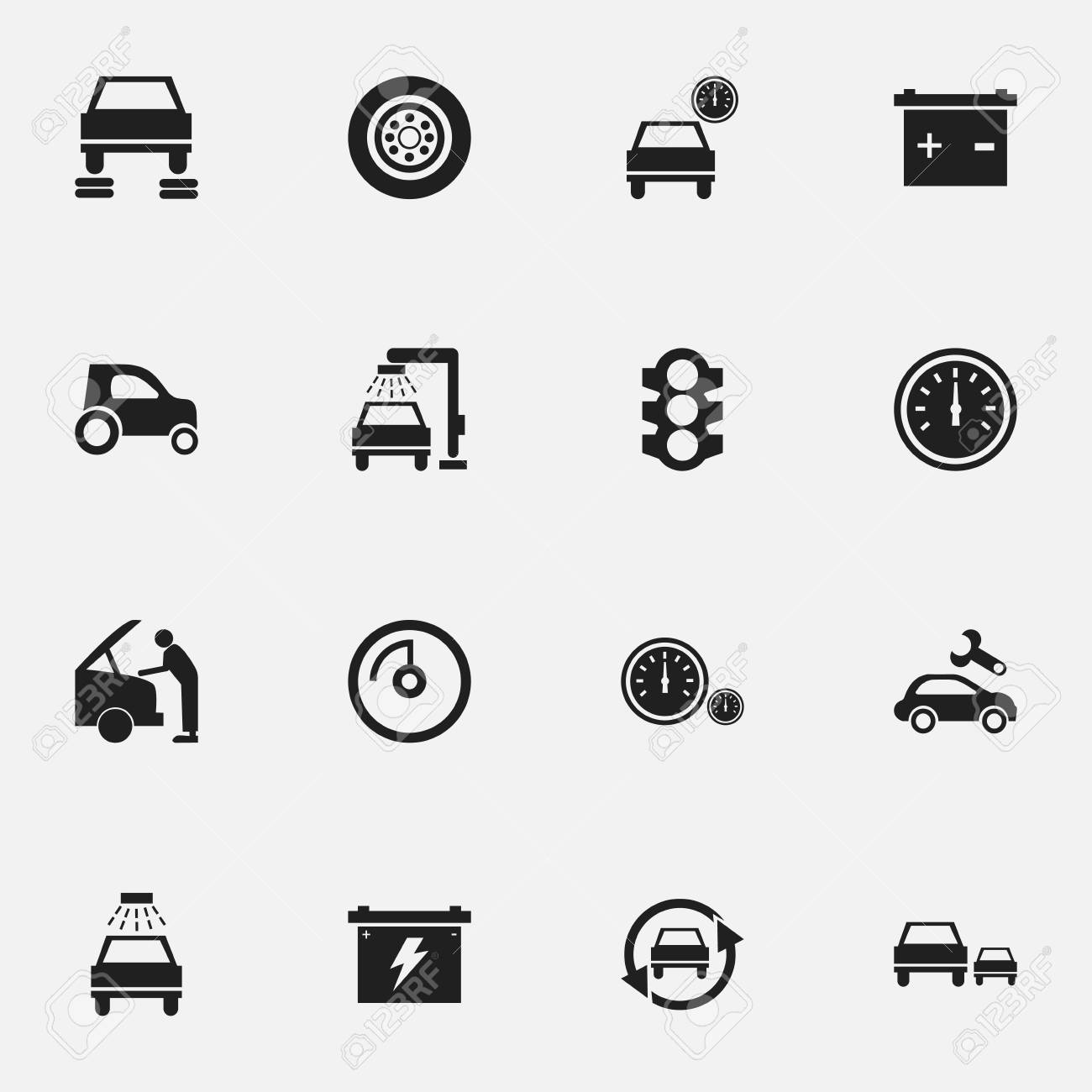 Set Of 16 Editable Car Icons Includes Symbols Such As Vehicle