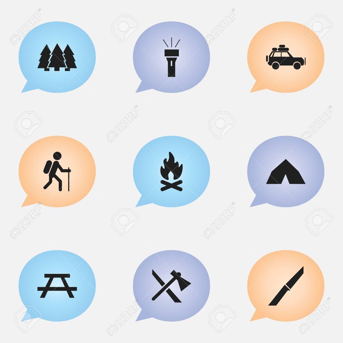 Bureau Design Gebruikt.Set Van 9 Bewerkbare Camping Iconen Bevat Symbolen Zoals Bureau Pijnboom Koorts En Meer Kan Worden Gebruikt Voor Web Mobile Ui En Infographic