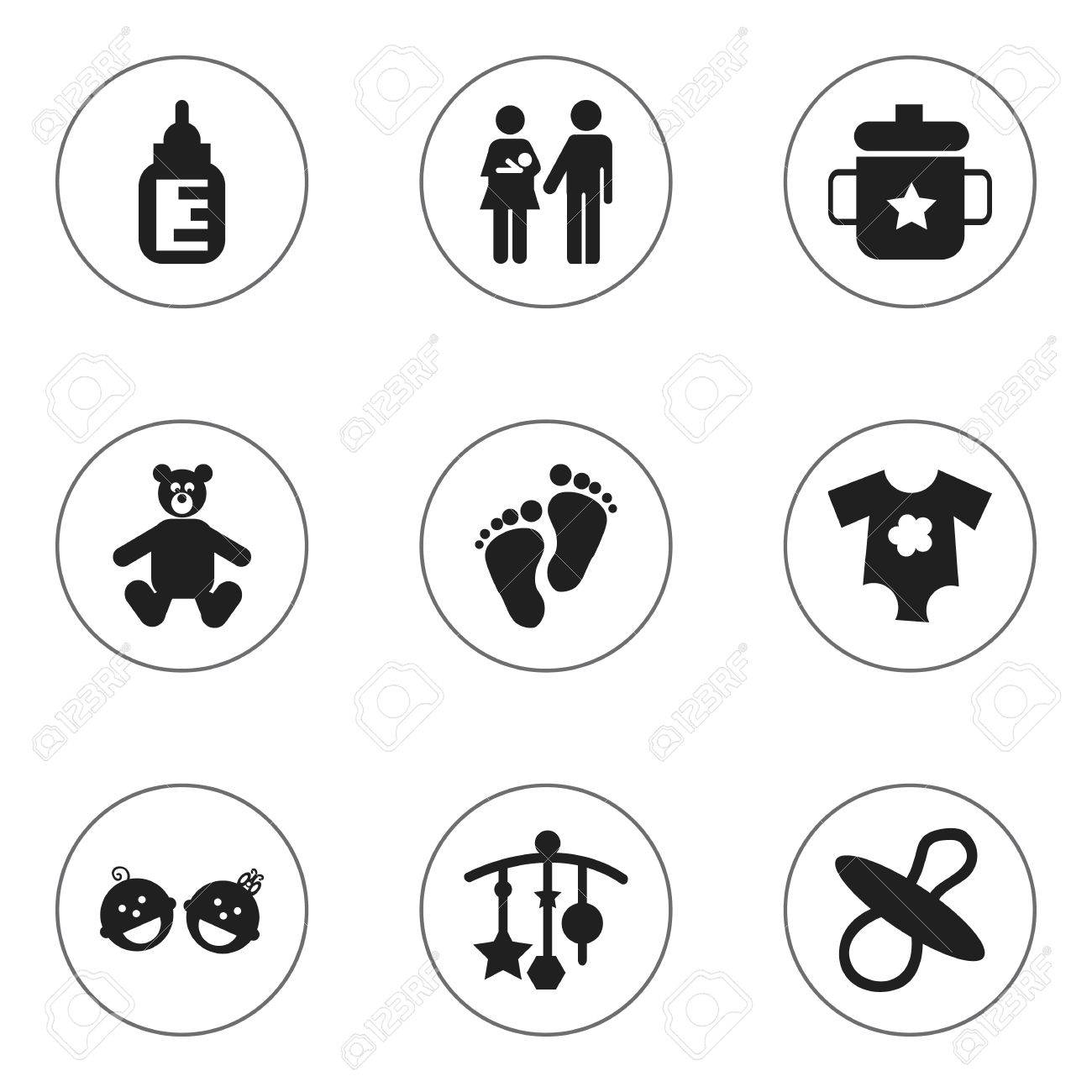 Set Of 9 Editable Child Icons. Includes Symbols Such As Nursing Bottle, Lineage, Adorn And More. Can Be Used For Web, Mobile, UI And Infographic Design. - 72881668