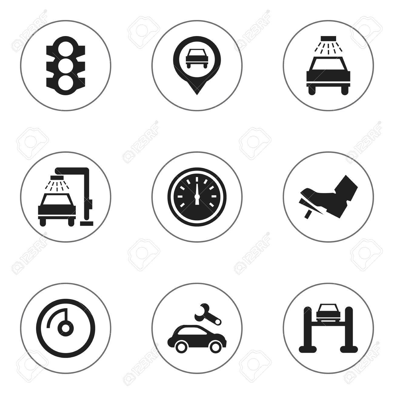 Set Of 9 Editable Car Icons Includes Symbols Such As Speed Display