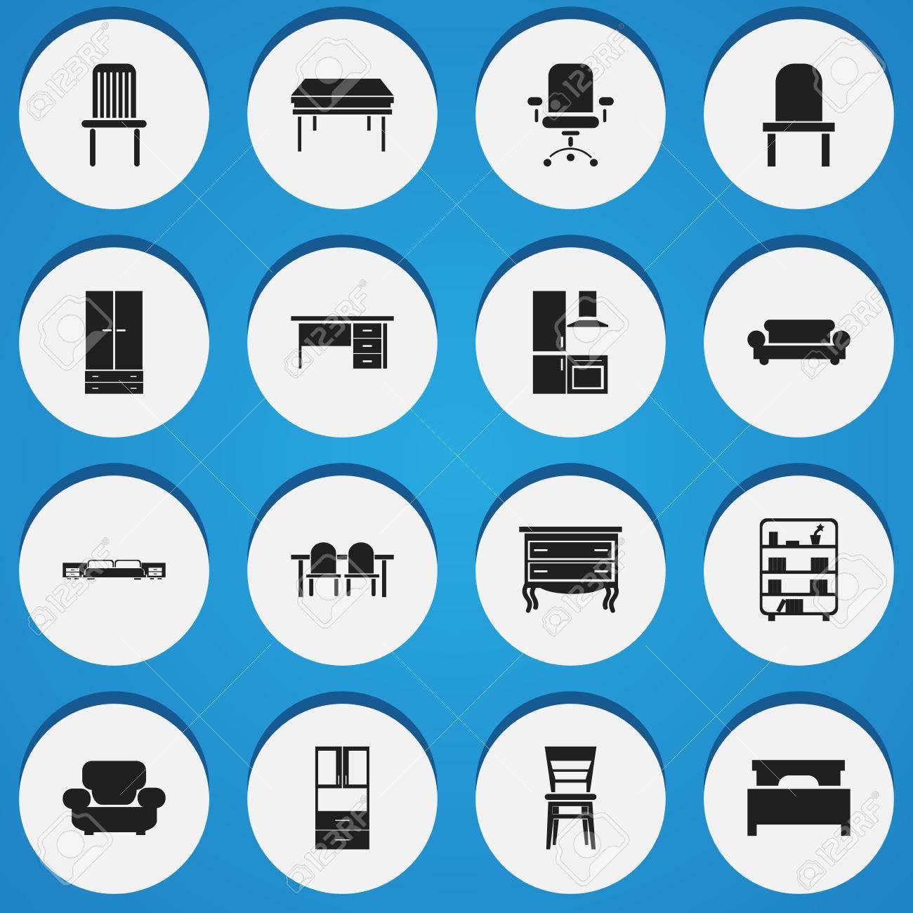 Conjunto de 16 iconos de muebles editables. Incluye símbolos tales como mesa de restaurante, sótano, colchón y más. Se puede usar para diseño ...