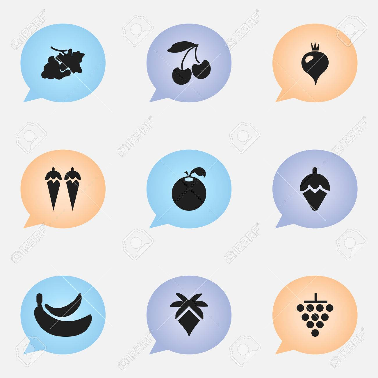 set of 9 editable fruits icons includes symbols such as cherry