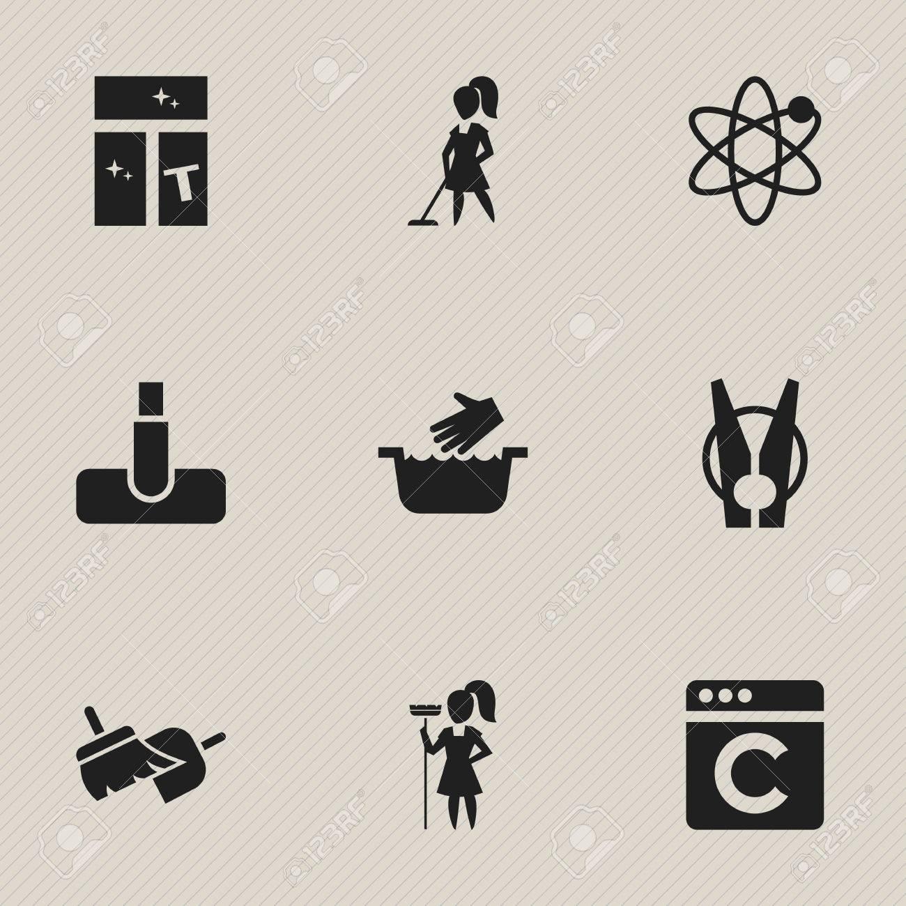 Ensemble De 9 Icônes De Nettoyage à Sec Modifiables. Comprend Des Symboles  Tels Que Peg, Balai, Travailler à La Maison Et Plus Encore.