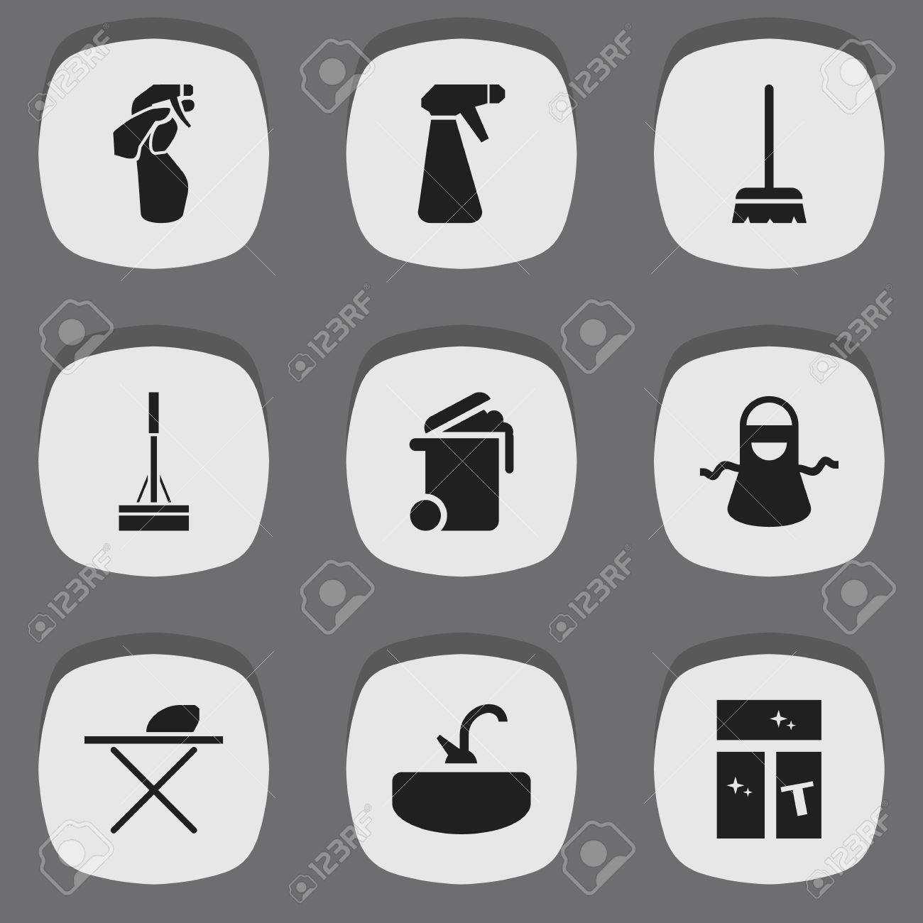 Set Of 9 Editable Cleaning Icons Includes Symbols Such As Washing