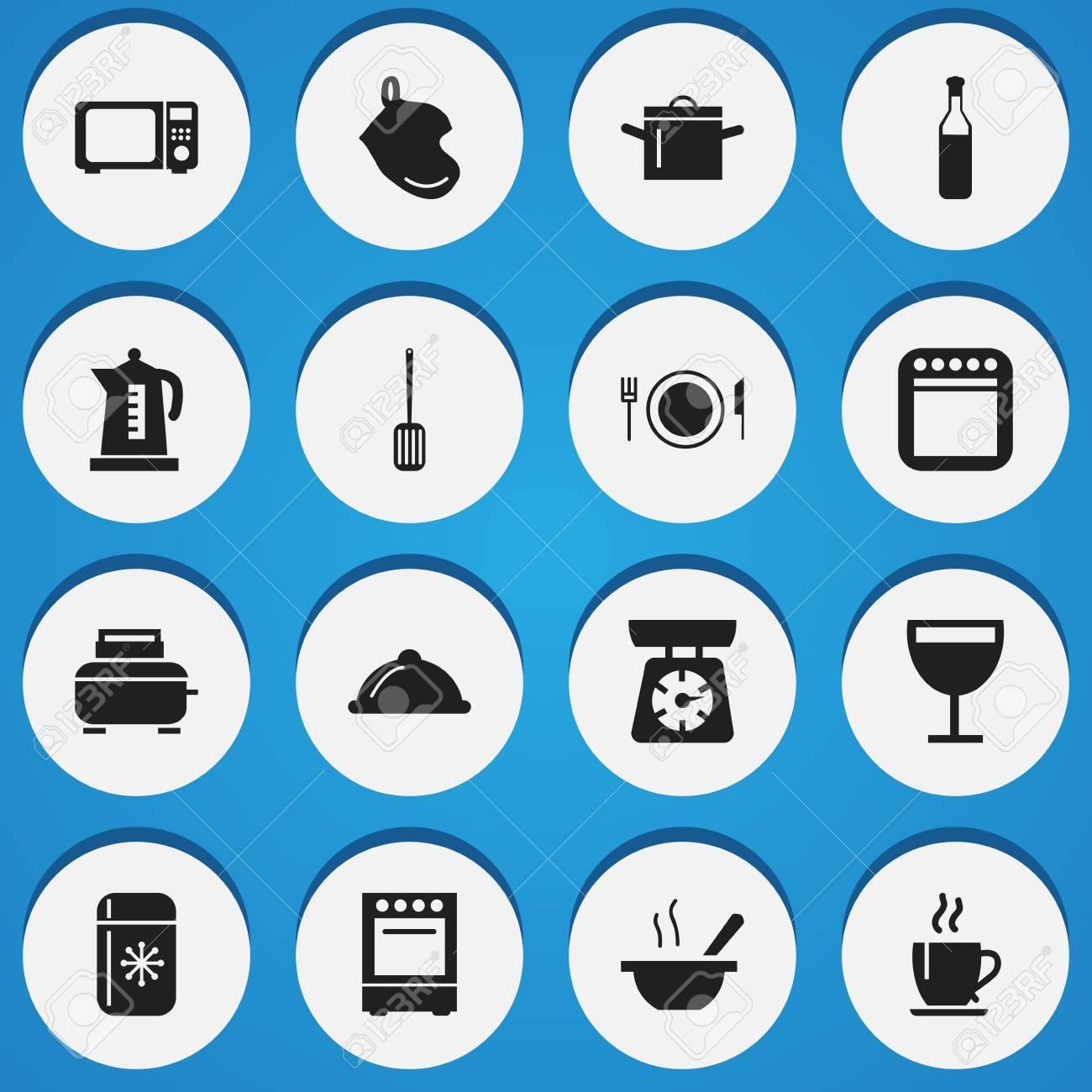 Satz Von 16 Bearbeitbaren Koch-Ikonen. Schließt Symbole Wie ...