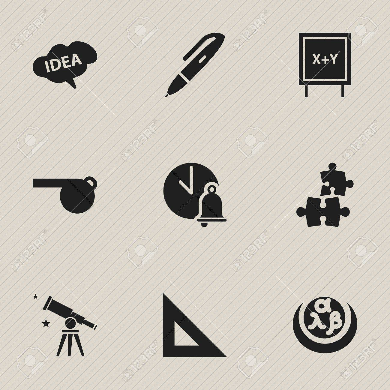 Set Of 9 Editable Science Icons Includes Symbols Such As Greek