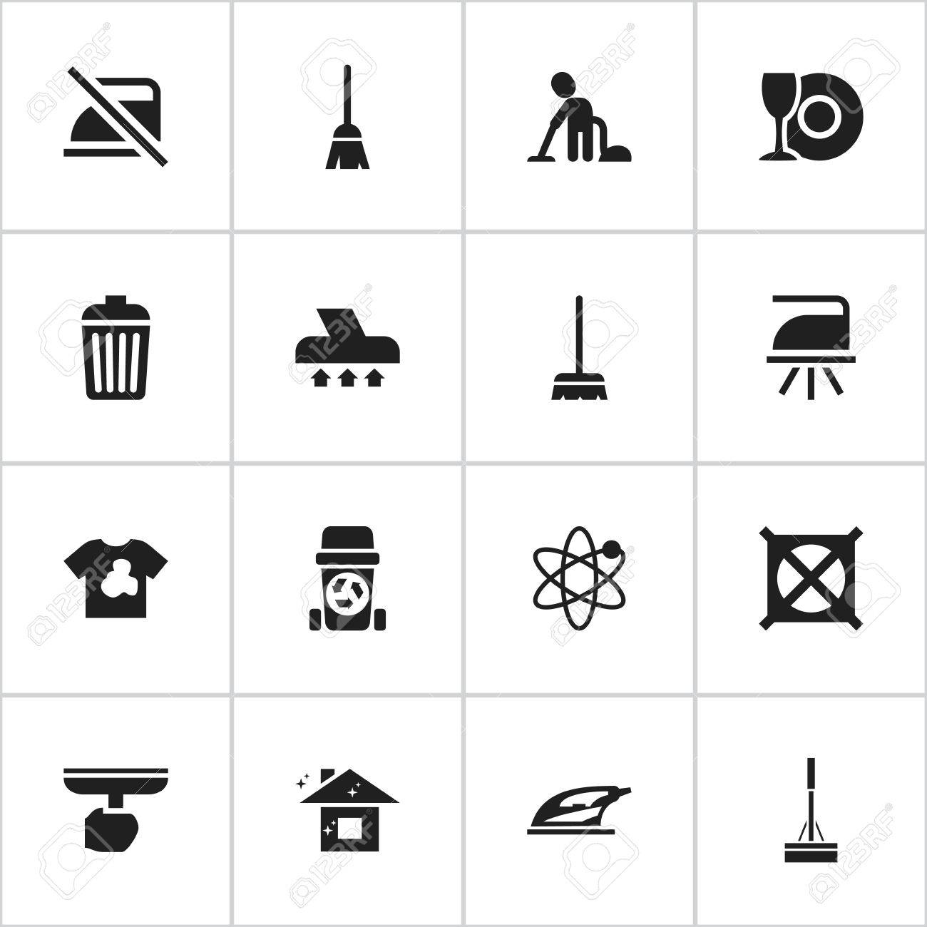Set Of 16 Editable Dry Cleaning Icons Includes Symbols Such